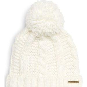 Michael Kors cable knit Pom Pom beanie Ivory NWT